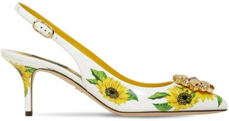 Dolce & Gabbana 60mm Sunflower Leather Slingbacks