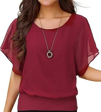 Liusdh Blouse Womens Blouses Tunics LiusdhWomen's Loose Casual Short Sleeve Batwing Sleeve Chiffon Top T-Shirt Blouse(WE