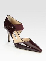 Manolo Blahnik Patent Leather Mary Jane Point Toe Pumps