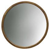 Threshold Round Mirror Wood Barrel Frame 24