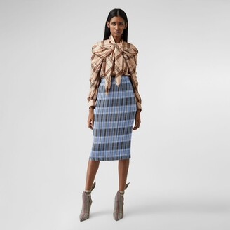Burberry Check Plisse Skirt