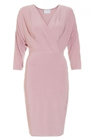 Quiz Mauve V Neck Wrap Front 3/4 Sleeve Bodycon Dress
