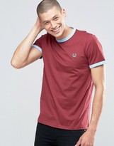 Fred Perry Ringer T-Shirt In Maroon / Sky Blue
