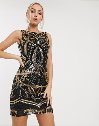 Goddiva embellished mini dress in black and gold