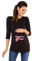 Zeta Ville Fashion Zeta Ville - Womens Maternity Pregnancy Shirt Top Arriving Soon print - 465c