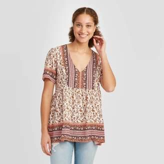 Knox Rose™ Women's Floral Print Short Sleeve V-Neck Blouse - Knox RoseTM Ivory