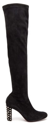Christian Louboutin Study Stretch-suede Over-the-knee Boots - Womens - Black