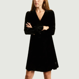 Essentiel Antwerp - Black Viscose Velvet Wallet Dress - 36 | viscose | black - Black/Black