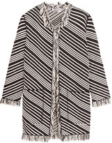 Sonia Rykiel Striped fringed cotton-blend coat