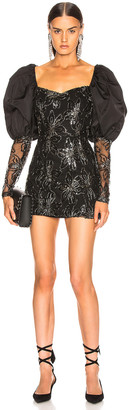 Rotate by Birger Christensen Sequin Embellished Puff Shoulder Mini Dress in Black | FWRD