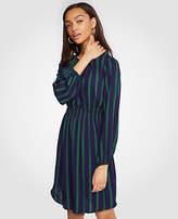 Ann Taylor Petite Stripe Gathered Flare Dress