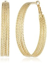 GUESS Textured Wires Gold Hoop Earrings