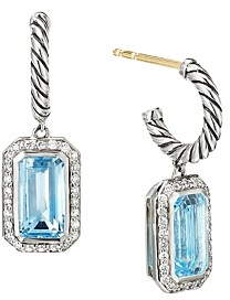 David Yurman Sterling Silver Novella Drop Earrings with Blue Topaz and Pave Diamonds