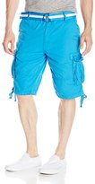 Southpole Men's Neon Cargo Shorts in Fine Twill Fabric with Matching Belt