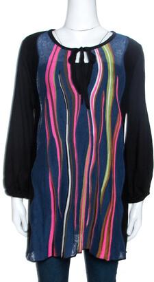 M Missoni Black Knit Stripe Panelled Tunic Top M