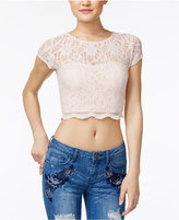 Speechless Juniors' Illusion Lace Crop Top