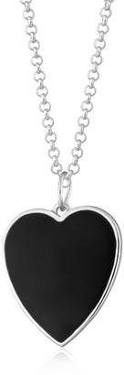 Scream Pretty Silver Black Heart Necklace With Slider Clasp