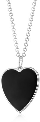 Silver Black Heart Necklace With Slider Clasp