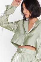 Womens Wine and Shine Satin Cropped Blazer - green - 6