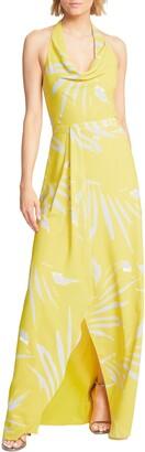 Halston Printed Halter Neck Gown