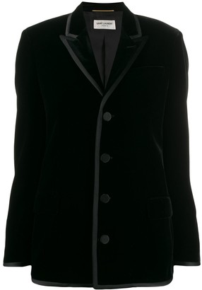 Saint Laurent Velvet Shoulder Pads Blazer