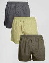 Asos Woven Boxer In Khaki & Grey 3 Pack