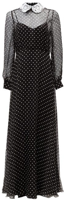 Valentino Lace-collar Polka-dot Chiffon Gown - Black White