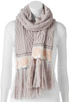 Muk Luks Cable-Knit Rose Scarf