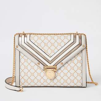 River Island Beige RI monogram quilted cross body bag