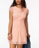 My Michelle Juniors' Twist-Front Lace Dress