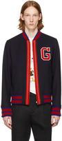 Gucci Navy Wool Bomber Jacket