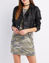 Charlotte Russe Faux Leather Quilted-Trim Moto Jacket