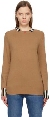 Burberry Beige Cashmere Icon Stripe Trim Eyre Sweater