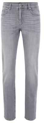 HUGO BOSS Slim Fit Jeans In Super Soft Gray Stretch Denim - Light Grey