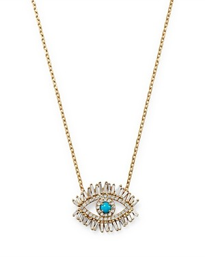 Suzanne Kalan 18K Yellow Gold Sleeping Beauty Turquoise & Diamond Evil Eye Pendant Necklace, 16-18