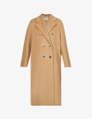 Max Mara Women's Camel Madame Double-Breasted Wool And Cashmere-Blend Coat, Size: 14