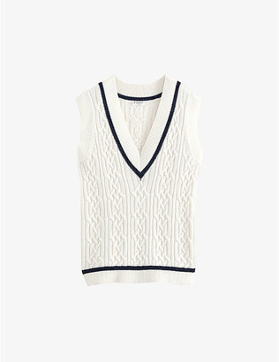Claudie Pierlot V-neck striped stretch-knit jumper