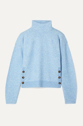 Veronica Beard Cady Button-detailed Knitted Turtleneck Sweater - Light blue