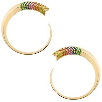 Robinson Pelham Chevron Large 18K Yellow Gold & Rainbow Mixed-Stone Front-Facing Hoop Earrings