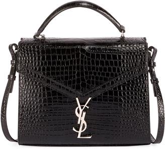 Saint Laurent Cassandre Monogram Crocodile-Embossed Top-Handle Bag