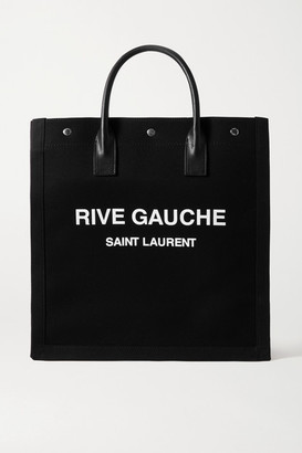 Saint Laurent Noe North South Leather-trimmed Printed Canvas Tote - Black