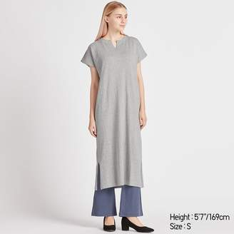 Uniqlo WOMEN Ribbed Split Neck Short Sleeve Long Dress