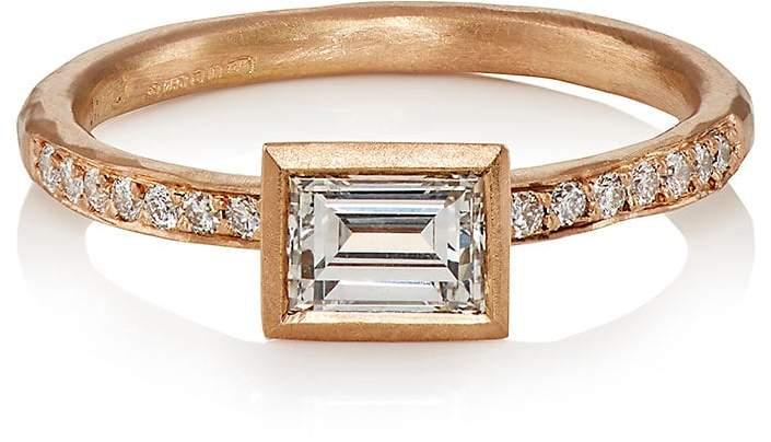Malcolm Betts Women's White Diamond & Rose Gold Ring