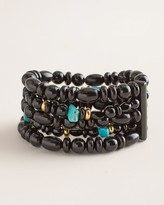 Chico's Chicos Black and Simulated Turquoise Multi-Strand Stretch Bracelet