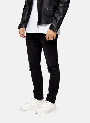 Topman CONSIDERED Washed Black Organic Cotton Rip Stretch Skinny Jeans