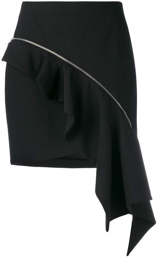zip asymmetric ruffle skirt