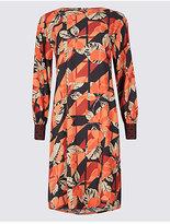 M&S Collection Printed Contrasting Cuff Tunic Midi Dress