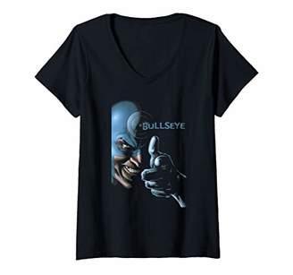 Marvel Womens Bullseye Sinister Smile Portrait Logo V-Neck T-Shirt