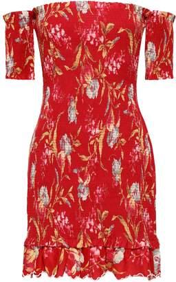 Zimmermann Off-the-shoulder Floral-print Linen And Cotton-blend Mini Dress