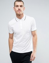 HUGO BOSS Hugo By Polo Tipped Stretch Slim Fit In White